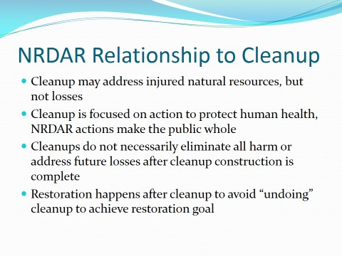 NRDAR Relationship to cleanup
